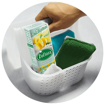 Zoflora box of lemon zing next to sponge